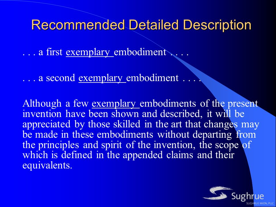 Recommended Detailed Description... a first exemplary embodiment.......