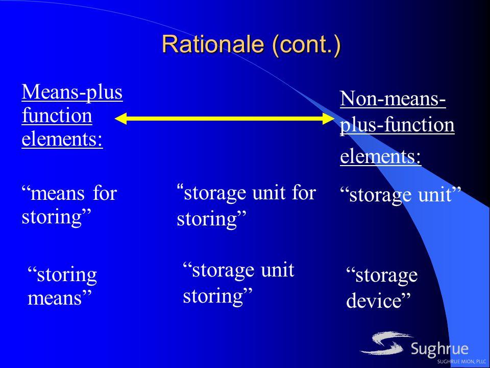 Rationale (cont.) Means-plus function elements: means for storing storing means storage unit for storing storage unit storing Non-means- plus-function elements: storage unit storage device