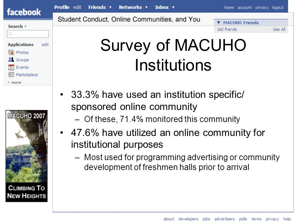 Survey of MACUHO Institutions 33.3% have used an institution specific/ sponsored online community –Of these, 71.4% monitored this community 47.6% have utilized an online community for institutional purposes –Most used for programming advertising or community development of freshmen halls prior to arrival