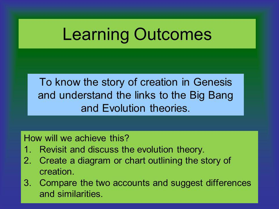 Learning Outcomes To know the story of creation in Genesis and understand the links to the Big Bang and Evolution theories. How will we achieve this?