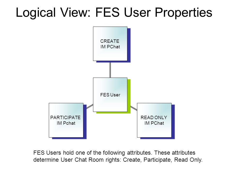 Logical View: FES User Properties FES Users hold one of the following attributes. These attributes determine User Chat Room rights: Create, Participat