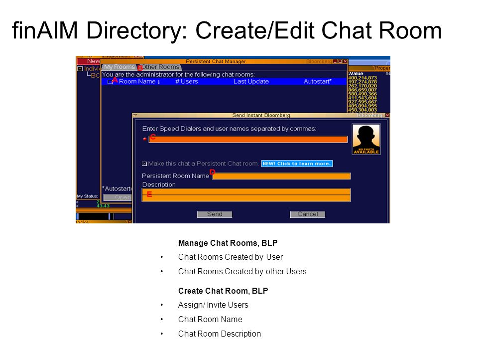 finAIM Directory: Create/Edit Chat Room Manage Chat Rooms, BLP Chat Rooms Created by User Chat Rooms Created by other Users Create Chat Room, BLP Assign/ Invite Users Chat Room Name Chat Room Description