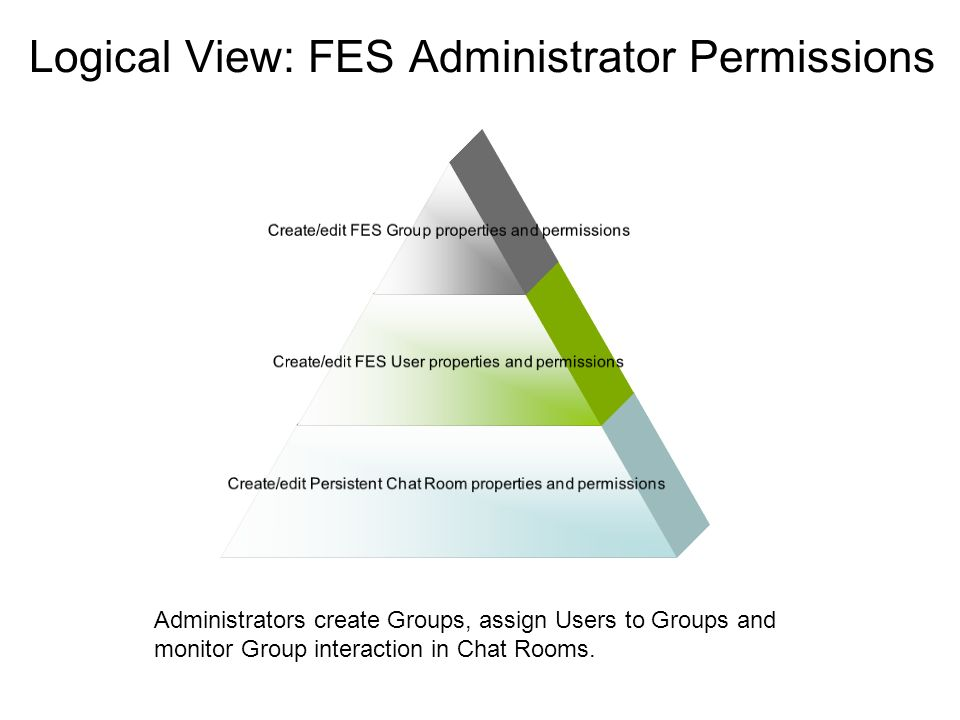 Logical View: FES Administrator Permissions Create/edit FES Group properties and permissions Create/edit FES User properties and permissions Create/edit Persistent Chat Room properties and permissions Administrators create Groups, assign Users to Groups and monitor Group interaction in Chat Rooms.