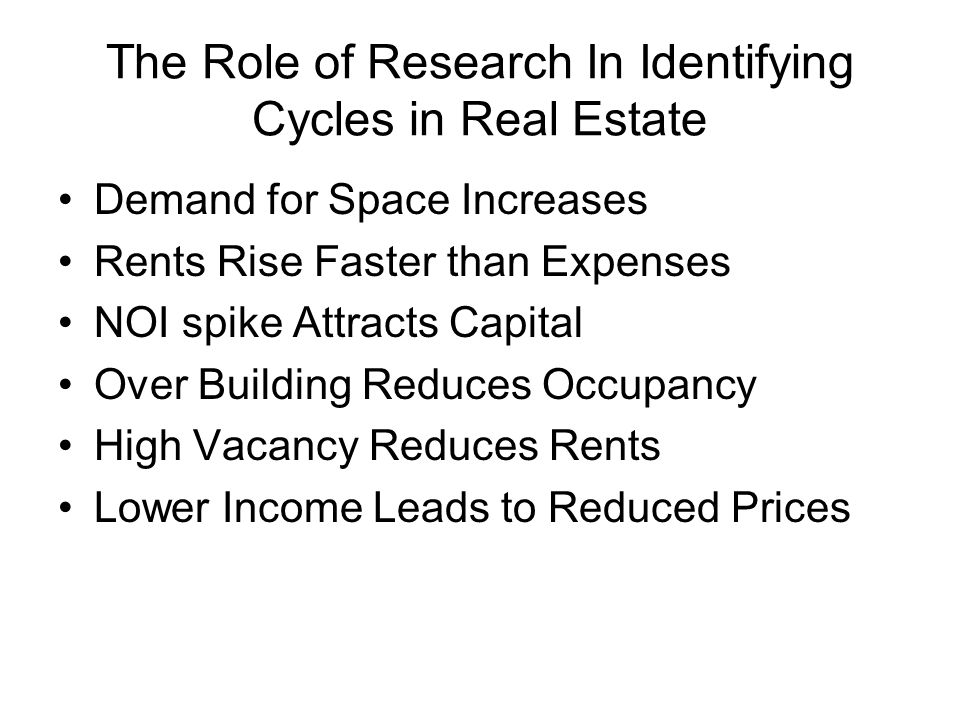The Role of Research In Identifying Cycles in Real Estate Demand for Space Increases Rents Rise Faster than Expenses NOI spike Attracts Capital Over Building Reduces Occupancy High Vacancy Reduces Rents Lower Income Leads to Reduced Prices