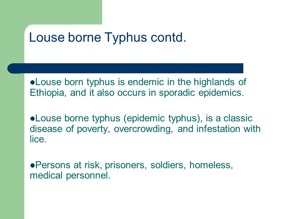 Louse borne Typhus contd. Louse born typhus is endemic in the highlands of Ethiopia, and it also occurs in sporadic epidemics. Louse borne typhus (epi
