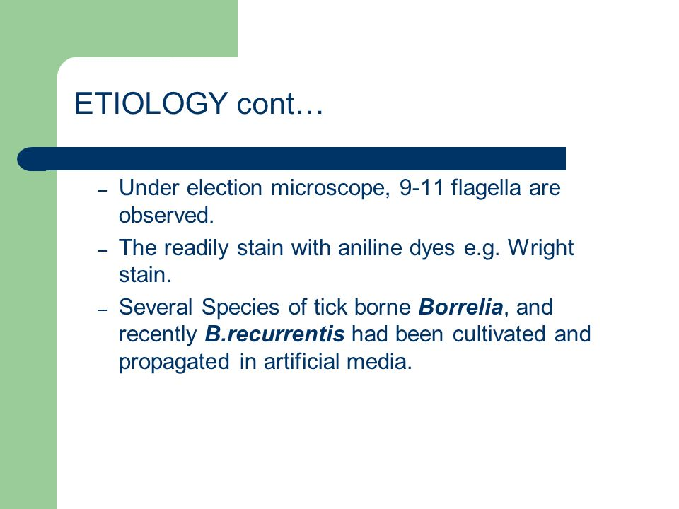 ETIOLOGY cont… – Under election microscope, 9-11 flagella are observed.