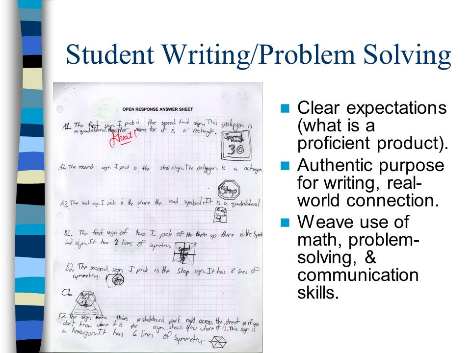 Student Writing/Problem Solving Clear expectations (what is a proficient product). Authentic purpose for writing, real- world connection. Weave use of