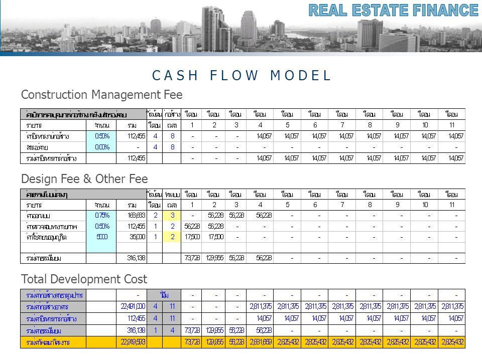 C A S H F L O W M O D E L Construction Management Fee Design Fee & Other Fee Total Development Cost