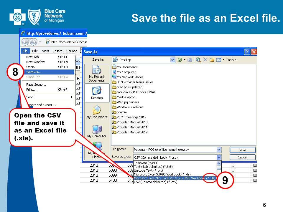 6 8 9 Open the CSV file and save it as an Excel file (.xls). Save the file as an Excel file.
