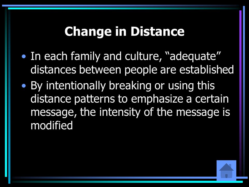 Change in Distance In each family and culture, adequate distances between people are established By intentionally breaking or using this distance patt