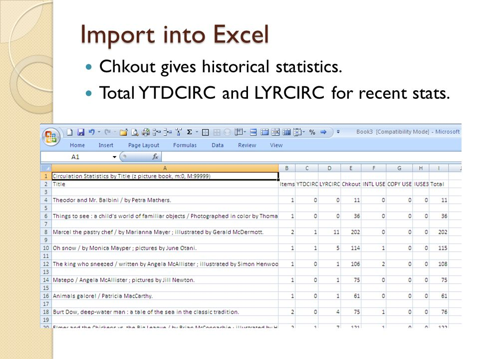 Import into Excel Chkout gives historical statistics. Total YTDCIRC and LYRCIRC for recent stats.