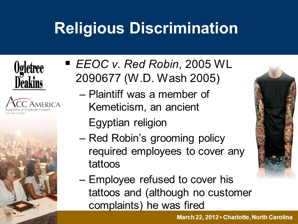 March 22, 2012 Charlotte, North Carolina Religious Discrimination EEOC v.