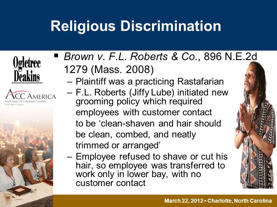 March 22, 2012 Charlotte, North Carolina Religious Discrimination Brown v.