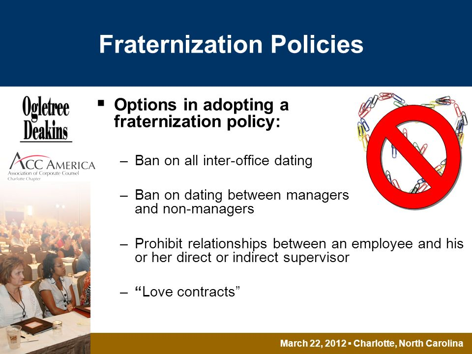 March 22, 2012 Charlotte, North Carolina Fraternization Policies Options in adopting a fraternization policy: –Ban on all inter-office dating –Ban on dating between managers and non-managers –Prohibit relationships between an employee and his or her direct or indirect supervisor –Love contracts
