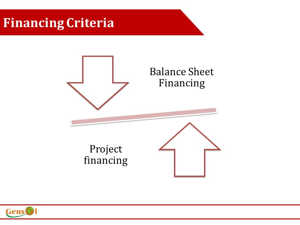 Financing Criteria Balance Sheet Financing Project financing