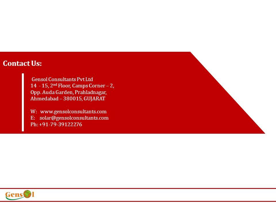 Contact Us: Gensol Consultants Pvt Ltd 14 - 15, 2 nd Floor, Camps Corner – 2, Opp.