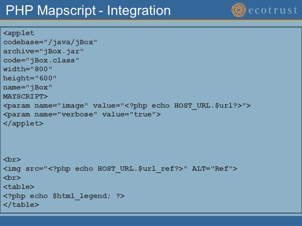 PHP Mapscript - Integration <applet codebase=