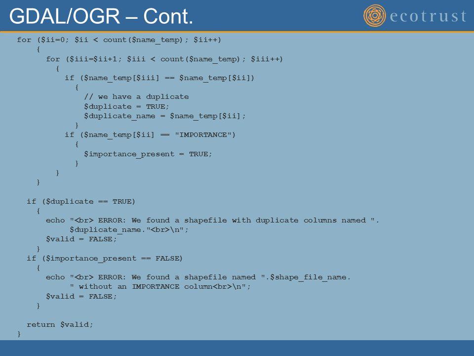 GDAL/OGR – Cont.