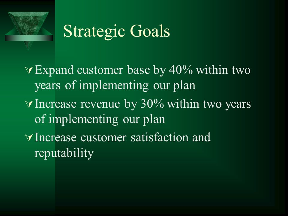 Strategic Goals Expand customer base by 40% within two years of implementing our plan Increase revenue by 30% within two years of implementing our pla