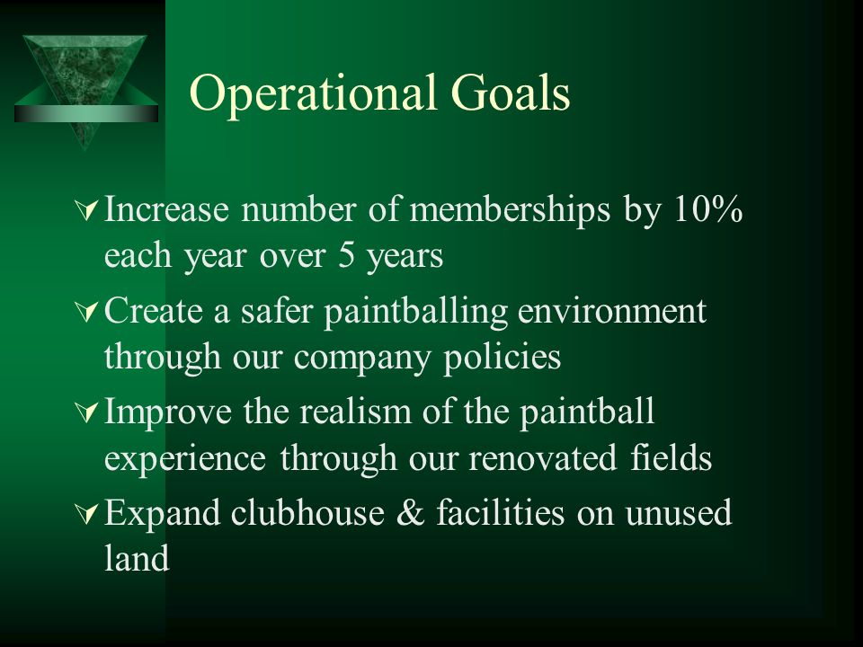 Operational Goals Increase number of memberships by 10% each year over 5 years Create a safer paintballing environment through our company policies Im