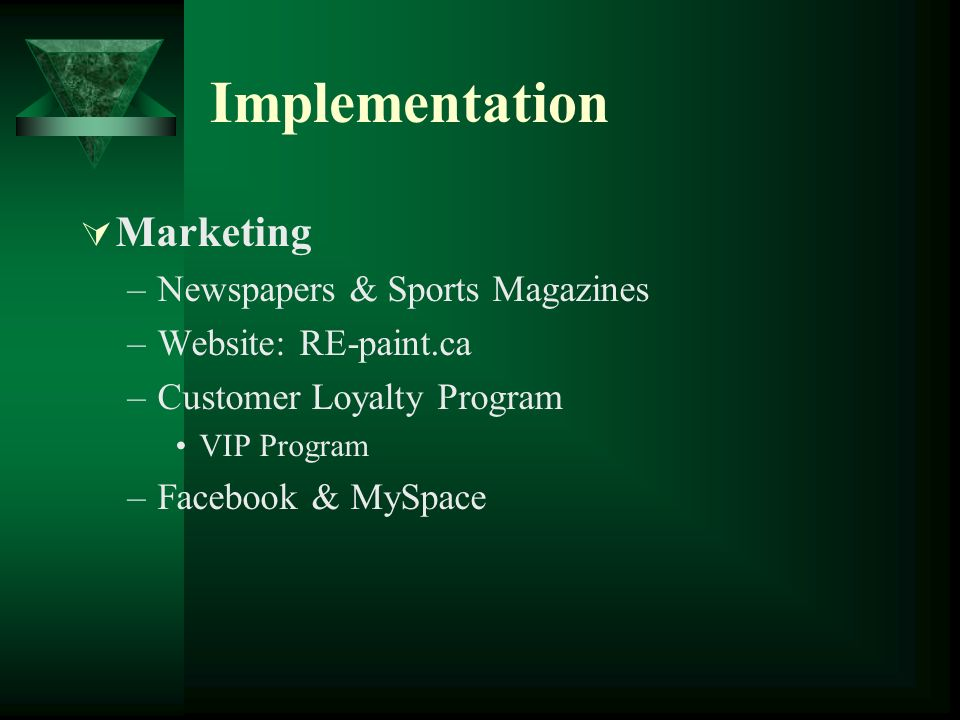 Implementation Marketing –Newspapers & Sports Magazines –Website: RE-paint.ca –Customer Loyalty Program VIP Program –Facebook & MySpace