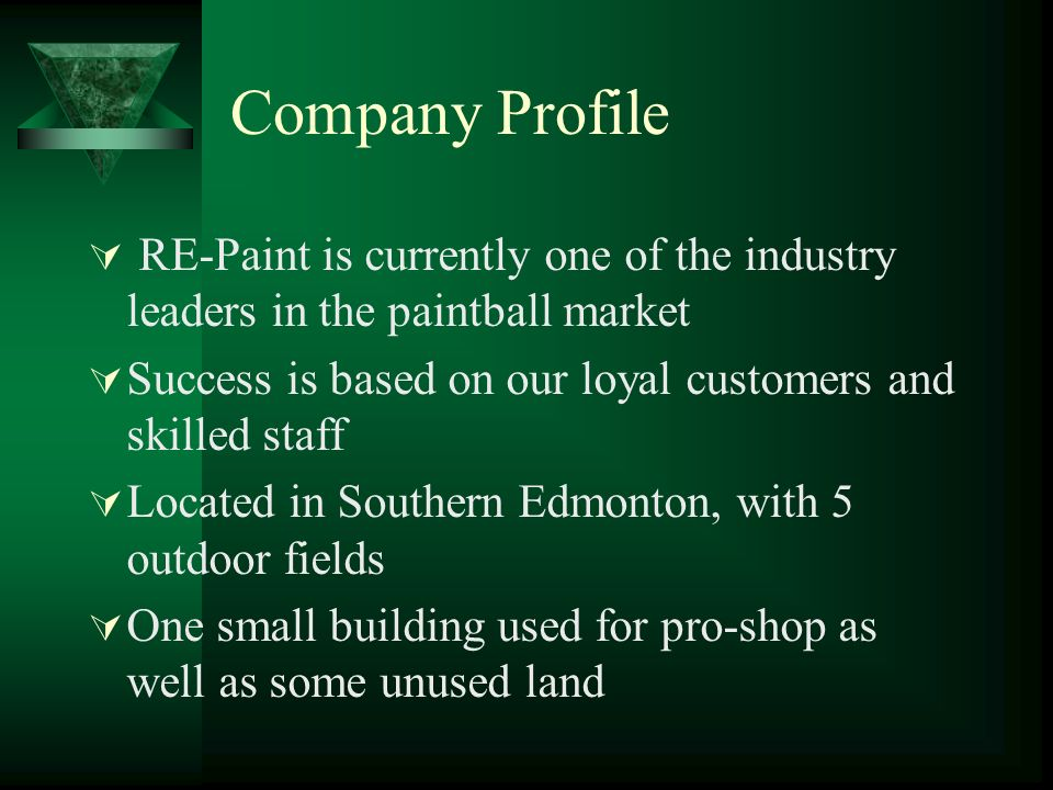 Company Profile RE-Paint is currently one of the industry leaders in the paintball market Success is based on our loyal customers and skilled staff Lo