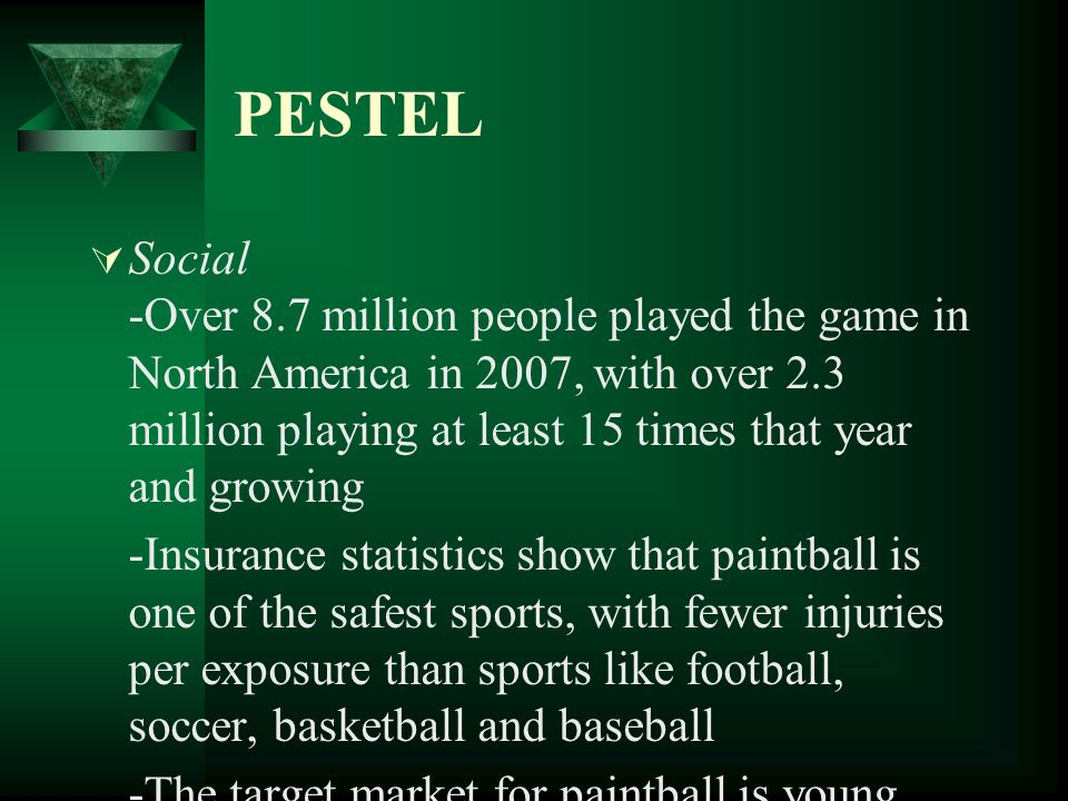 PESTEL Technological -C02 and compressed air allows paintball players to shoot their guns continuously without the need to stop and pump their gun -Over the last few years there have not been many technological enhancements in the paintball market -Many companies have looked at creating accessories, such as jerseys, pants, masks with anti-fog technology, to continue fuelling demand in the paintball market