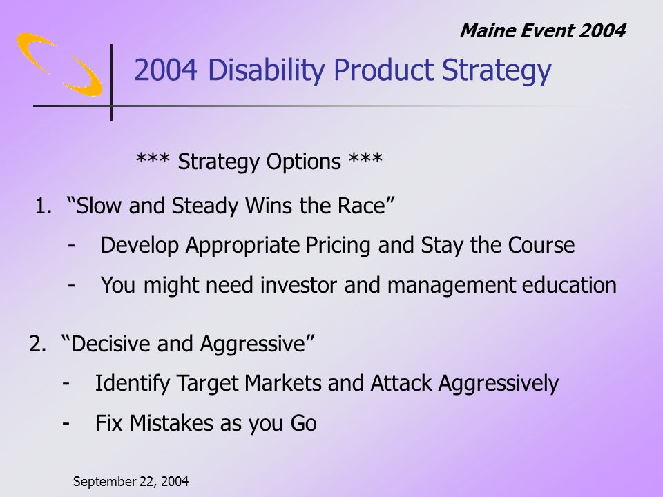 September 22, 2004 Maine Event Disability Product Strategy 1.Slow and Steady Wins the Race -Develop Appropriate Pricing and Stay the Course -You might need investor and management education *** Strategy Options *** 2.Decisive and Aggressive -Identify Target Markets and Attack Aggressively -Fix Mistakes as you Go