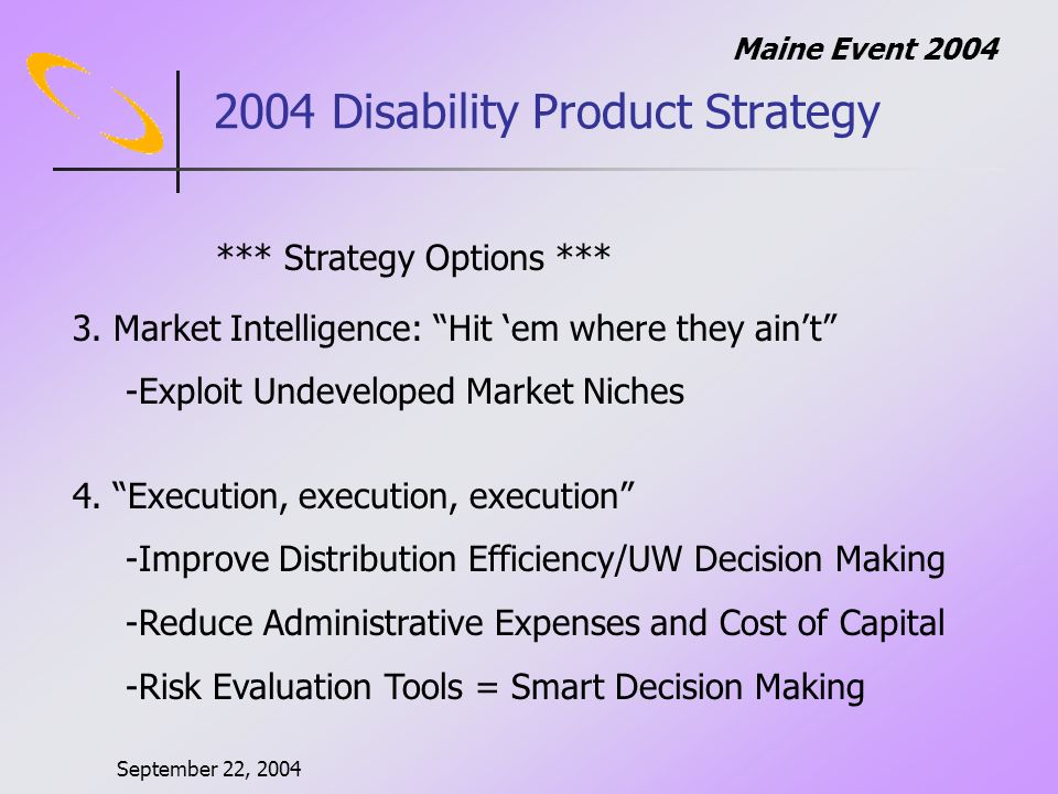 September 22, 2004 Maine Event Disability Product Strategy *** Strategy Options *** 3.