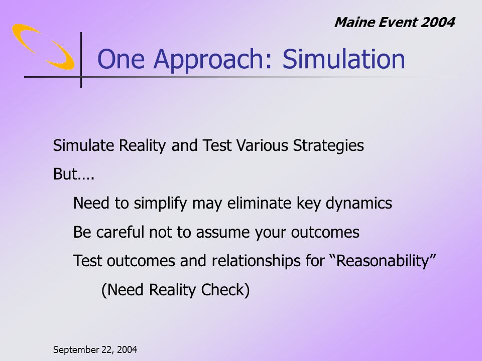 September 22, 2004 Maine Event 2004 One Approach: Simulation Simulate Reality and Test Various Strategies But….