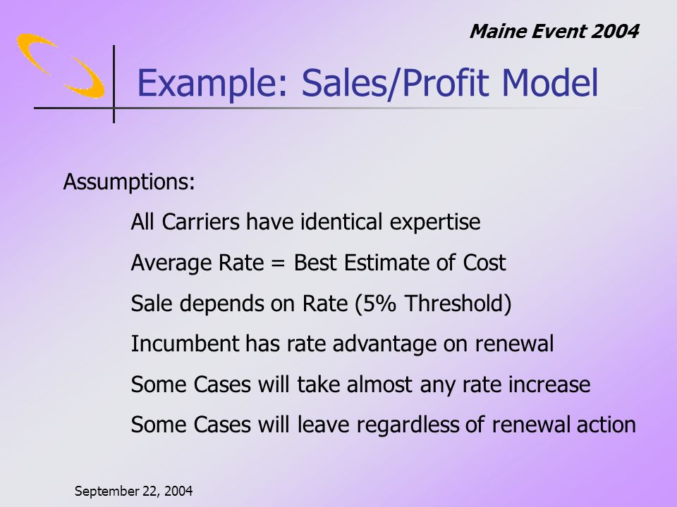 September 22, 2004 Maine Event 2004 Example: Sales/Profit Model Assumptions: All Carriers have identical expertise Average Rate = Best Estimate of Cost Sale depends on Rate (5% Threshold) Incumbent has rate advantage on renewal Some Cases will take almost any rate increase Some Cases will leave regardless of renewal action