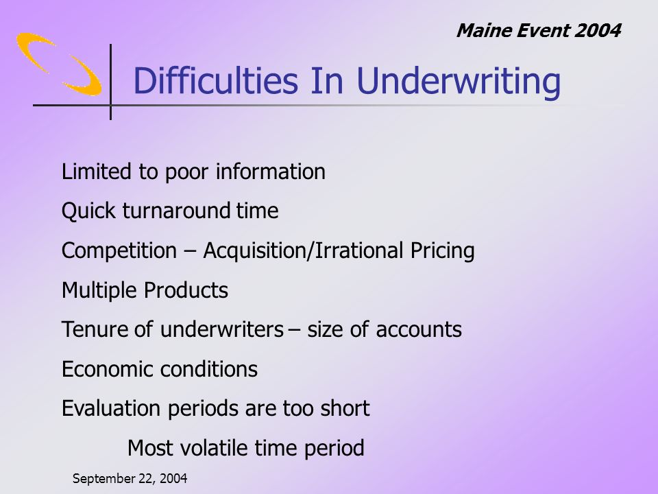 September 22, 2004 Maine Event 2004 Scenario 5: Classic Underwriting Cycle
