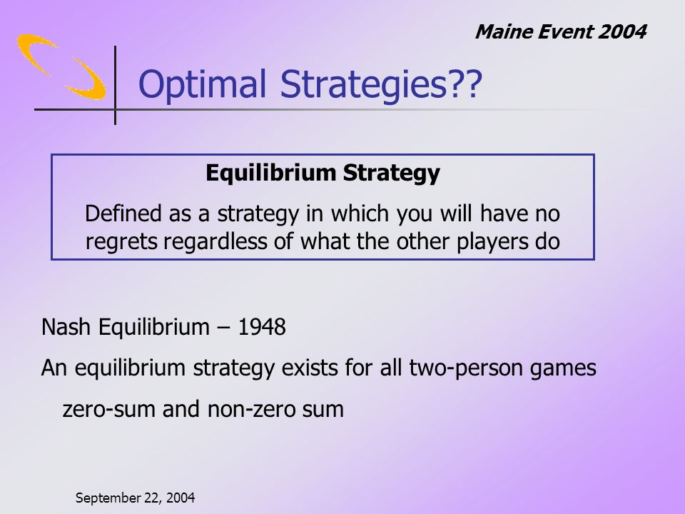 September 22, 2004 Maine Event 2004 Optimal Strategies .