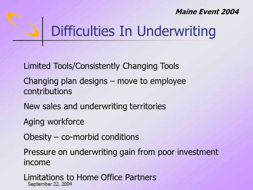 September 22, 2004 Maine Event 2004 Difficulties In Underwriting Mind space for LTD Increasing medical costs Churning business Employers attitude towards employees Regulatory issues Internal meetings Profitable Growth Goals
