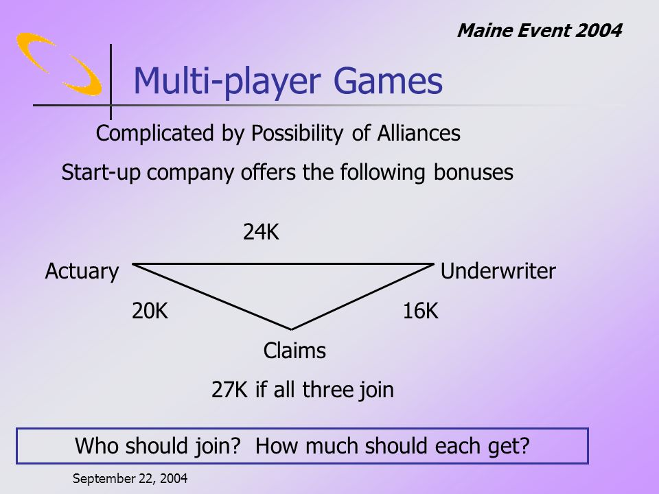 September 22, 2004 Maine Event 2004 Multi-player Games Complicated by Possibility of Alliances Start-up company offers the following bonuses 24K ActuaryUnderwriter 20K 16K Claims 27K if all three join Who should join.