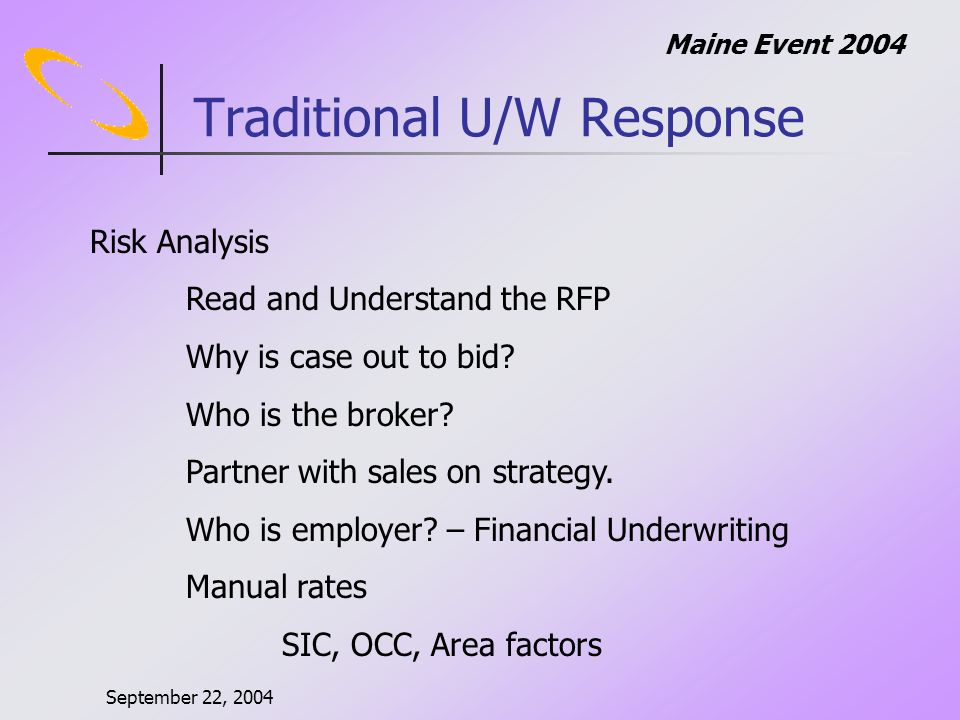 September 22, 2004 Maine Event 2004 Traditional U/W Response Risk Analysis Read and Understand the RFP Why is case out to bid.
