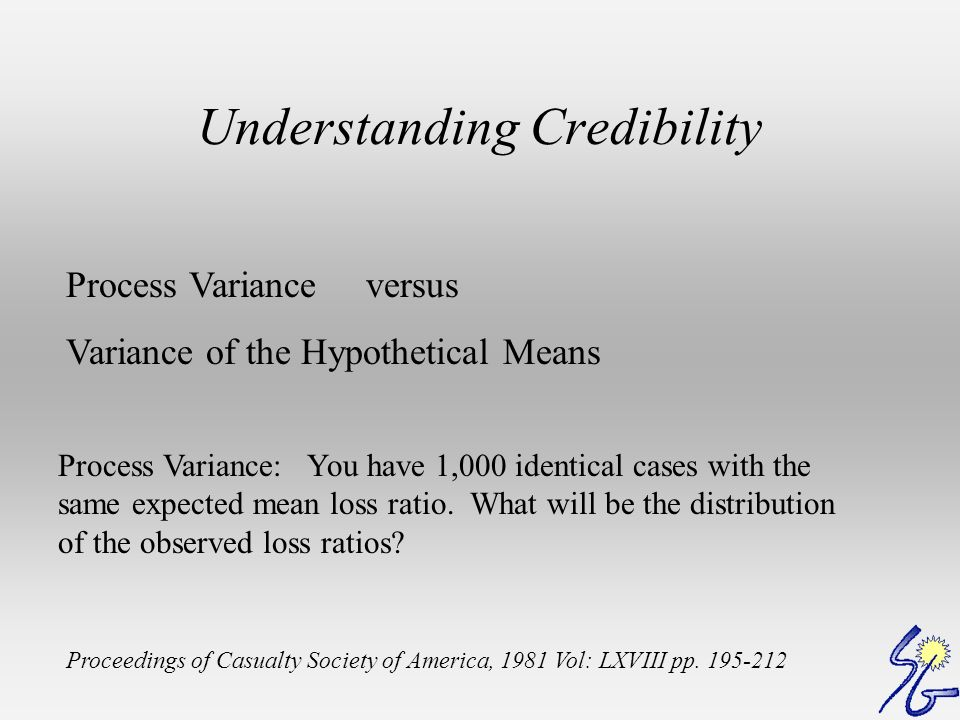 Understanding Credibility Process Variance versus Variance of the Hypothetical Means Proceedings of Casualty Society of America, 1981 Vol: LXVIII pp.