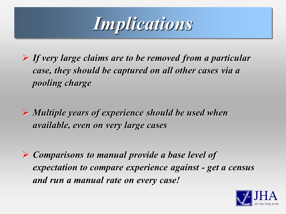 ImplicationsImplications If very large claims are to be removed from a particular case, they should be captured on all other cases via a pooling charge If very large claims are to be removed from a particular case, they should be captured on all other cases via a pooling charge Multiple years of experience should be used when available, even on very large cases Multiple years of experience should be used when available, even on very large cases Comparisons to manual provide a base level of expectation to compare experience against - get a census and run a manual rate on every case.