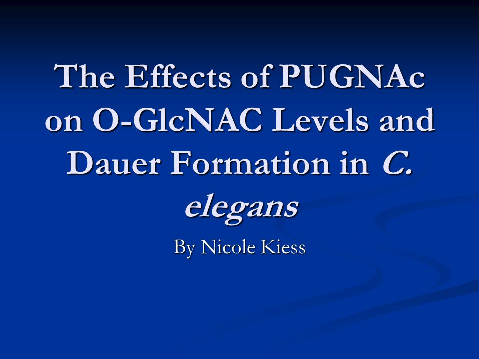 The Effects of PUGNAc on O-GlcNAC Levels and Dauer Formation in C. elegans By Nicole Kiess