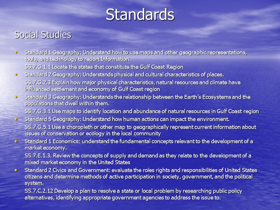 Standards Social Studies Standard 1 Geography: Understand how to use maps and other geographic representations, tools, and technology to report Inform