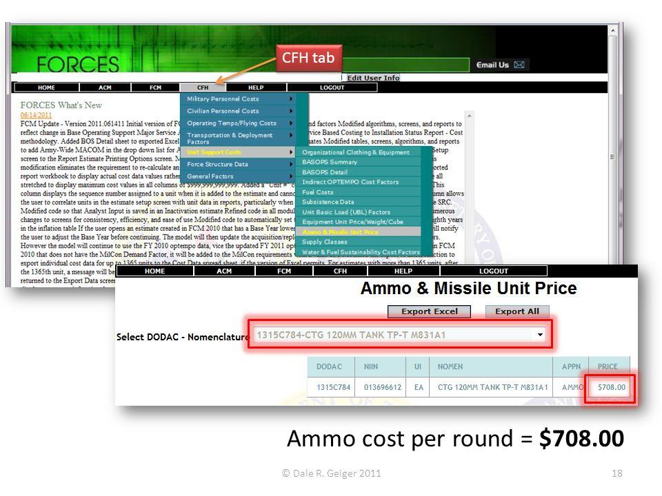 © Dale R. Geiger 201118 Ammo cost per round = $708.00 CFH tab