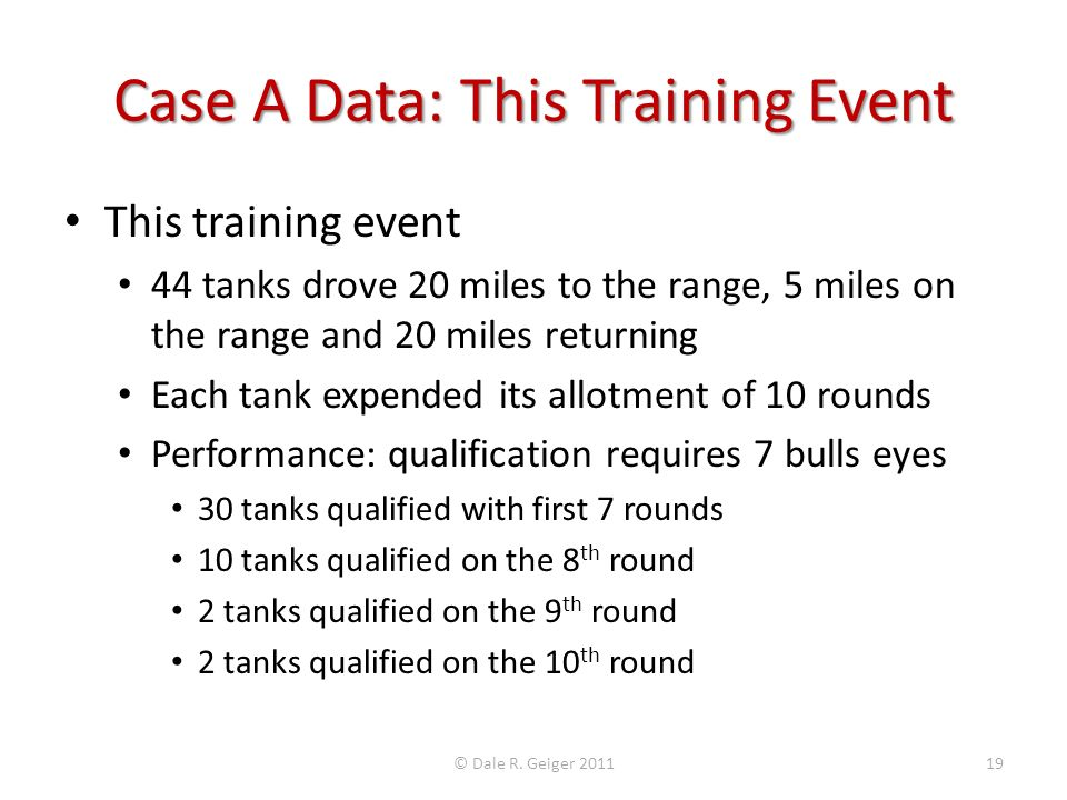 Case A Data: This Training Event This training event 44 tanks drove 20 miles to the range, 5 miles on the range and 20 miles returning Each tank expen