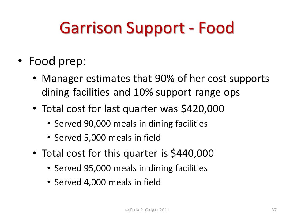 Garrison Support - Food Food prep: Manager estimates that 90% of her cost supports dining facilities and 10% support range ops Total cost for last qua