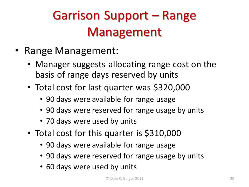 Garrison Support – Range Management Range Management: Manager suggests allocating range cost on the basis of range days reserved by units Total cost f
