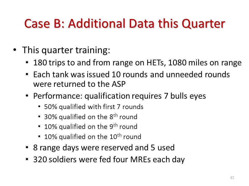 Case B: Additional Data this Quarter This quarter training: 180 trips to and from range on HETs, 1080 miles on range Each tank was issued 10 rounds an
