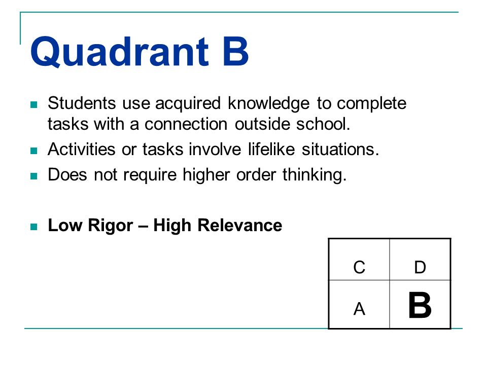Quadrant B Students use acquired knowledge to complete tasks with a connection outside school. Activities or tasks involve lifelike situations. Does n