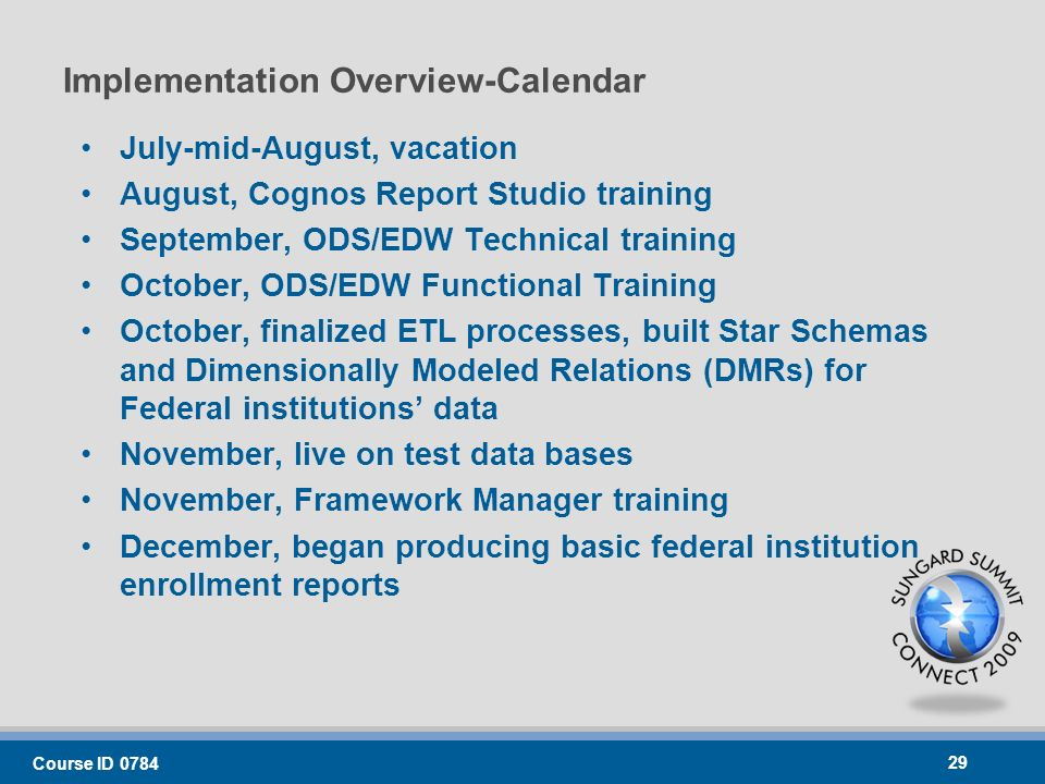 Implementation Overview-Calendar July-mid-August, vacation August, Cognos Report Studio training September, ODS/EDW Technical training October, ODS/EDW Functional Training October, finalized ETL processes, built Star Schemas and Dimensionally Modeled Relations (DMRs) for Federal institutions data November, live on test data bases November, Framework Manager training December, began producing basic federal institution enrollment reports Course ID
