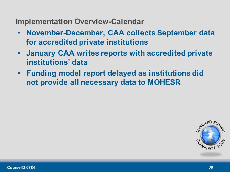 Implementation Overview-Calendar November-December, CAA collects September data for accredited private institutions January CAA writes reports with accredited private institutions data Funding model report delayed as institutions did not provide all necessary data to MOHESR Course ID 0784 30