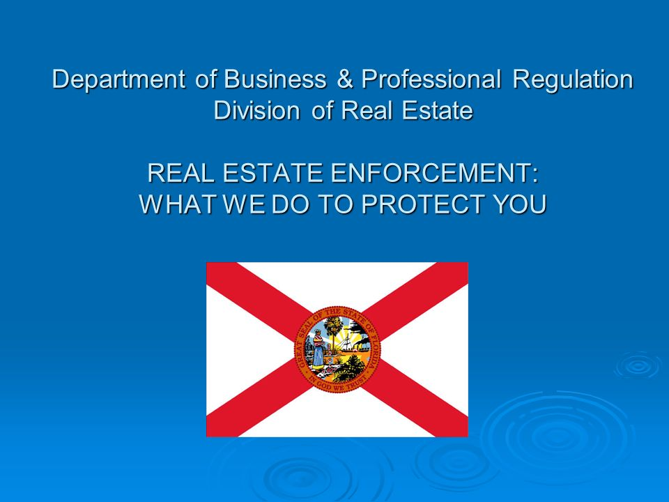 Department of Business & Professional Regulation Division of Real Estate REAL ESTATE ENFORCEMENT: WHAT WE DO TO PROTECT YOU