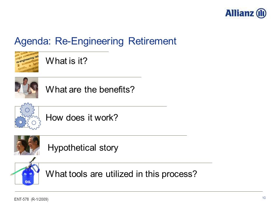 ENT-578 (R-1/2009) 10 Agenda: Re-Engineering Retirement How does it work.